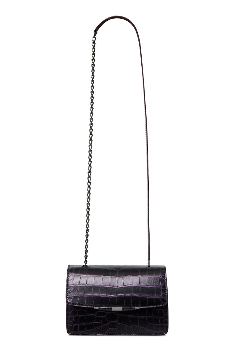TYLER ELLIS Candy Medium Black/Purple Alligator Gunmetal Hardware In New Condition For Sale In Los Angeles, CA