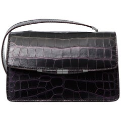 TYLER ELLIS Candy Medium Black/Purple Alligator Gunmetal Hardware