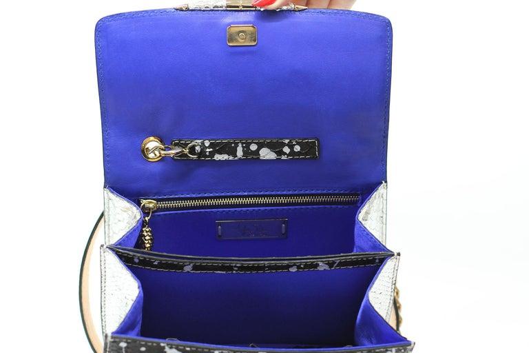 Women's TYLER ELLIS Candy Medium Black/Silver Pollock Splash Python Gold Hardware For Sale