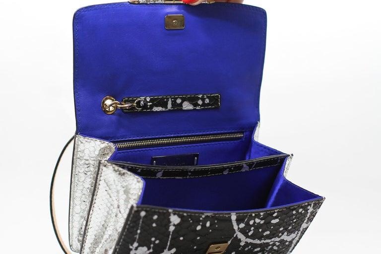 TYLER ELLIS Candy Medium Black/Silver Pollock Splash Python Gold Hardware For Sale 1