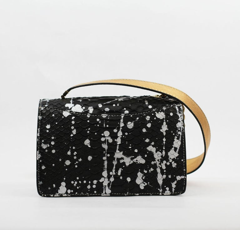 TYLER ELLIS Candy Medium Black/Silver Pollock Splash Python Gold Hardware For Sale 2