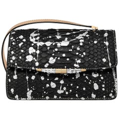 TYLER ELLIS Candy Medium Black/Silver Pollock Splash Python Gold Hardware
