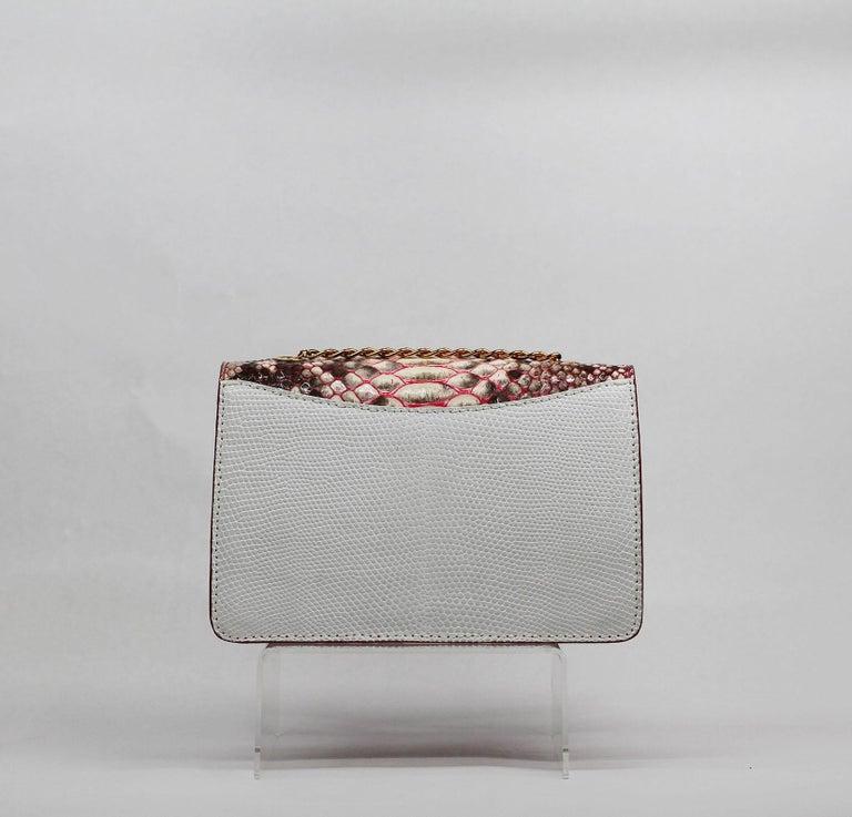 Gray TYLER ELLIS Candy Medium Natural Pink Python + White Lizard Rose Gold Hardware For Sale