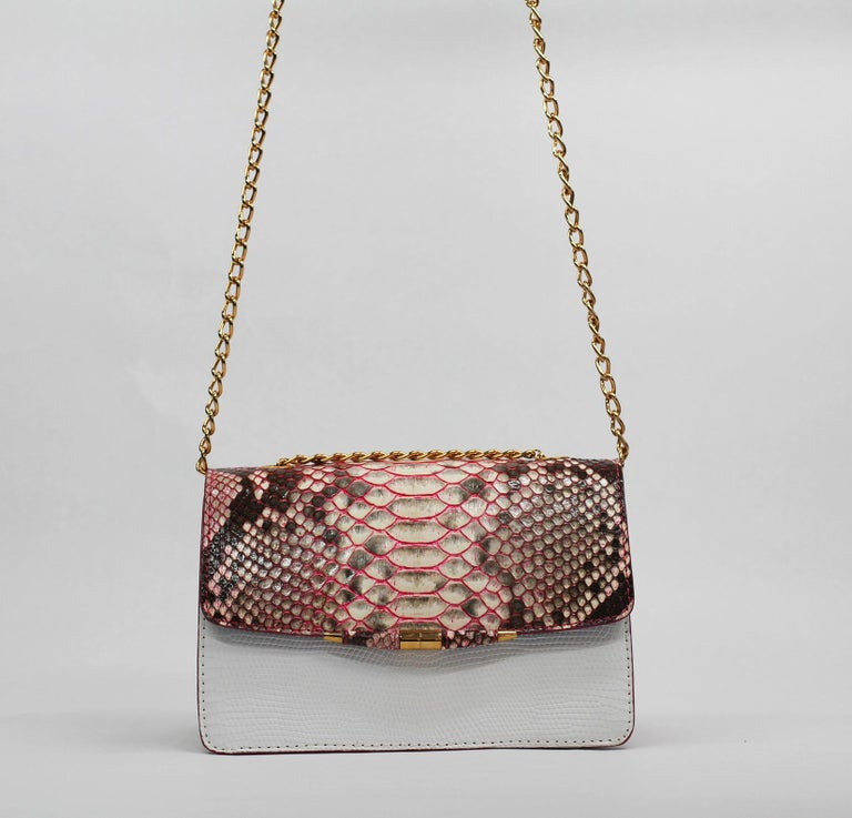 TYLER ELLIS Candy Medium Natural Pink Python + White Lizard Rose Gold Hardware In New Condition For Sale In Los Angeles, CA
