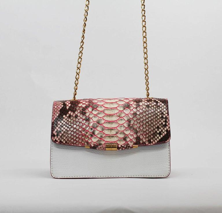 Women's TYLER ELLIS Candy Medium Natural Pink Python + White Lizard Rose Gold Hardware For Sale