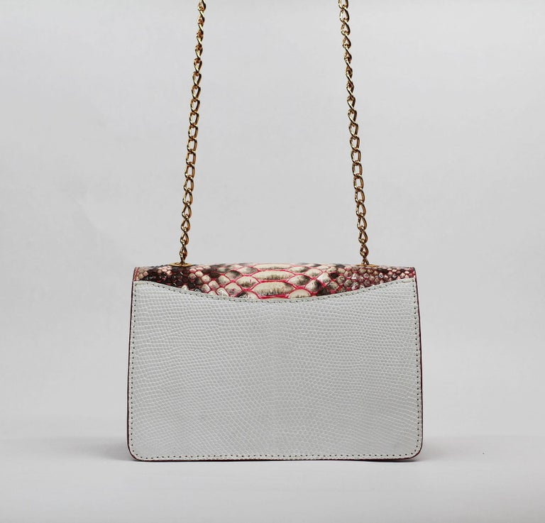 TYLER ELLIS Candy Medium Natural Pink Python + White Lizard Rose Gold Hardware For Sale 1