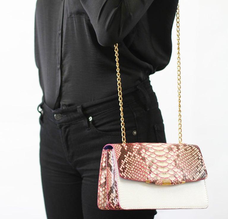 TYLER ELLIS Candy Medium Natural Pink Python + White Lizard Rose Gold Hardware For Sale 2
