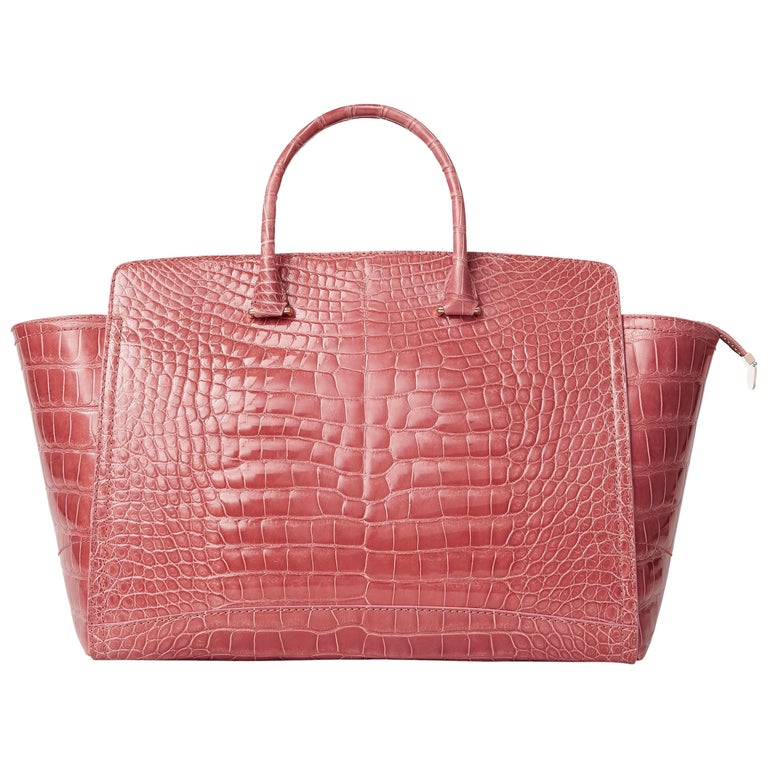 Caroline large tote in rose alligator