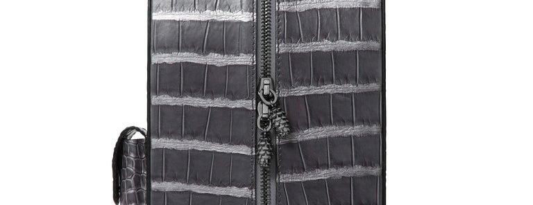 Gray TYLER ELLIS David Wine Bag Grey Metallic Alligator Gunmetal Hardware For Sale