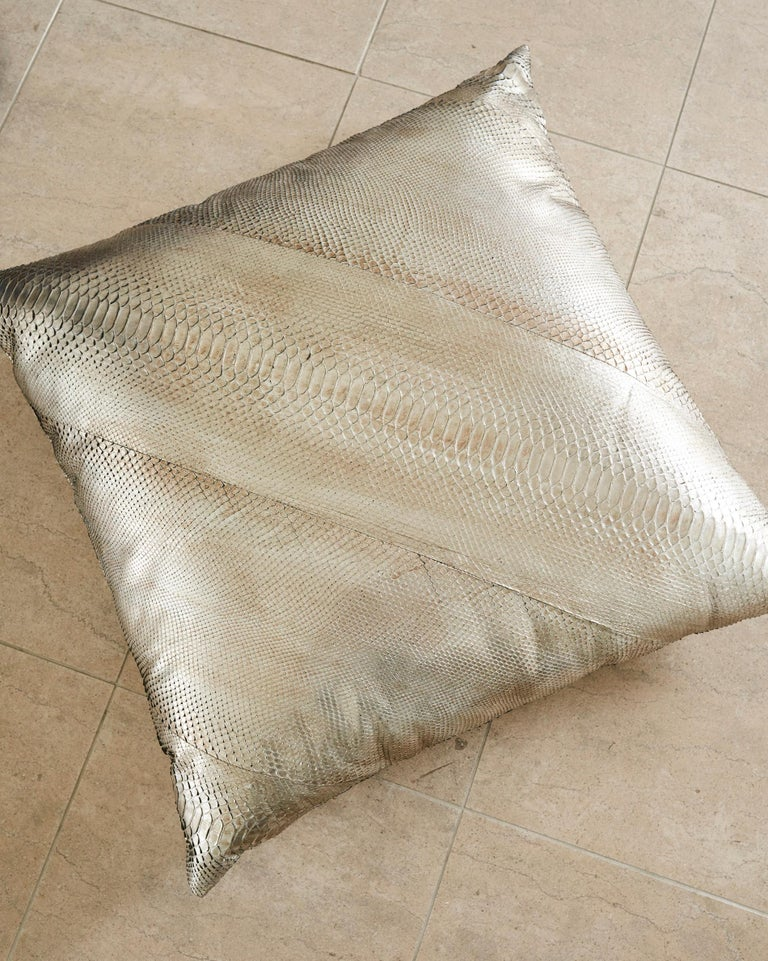 Each over-sized plush pillow is finished in an electric pewter metallic python skin.  The rare double-sided Python pillow is hand-created outside of Florence, Italy.  *Note this is a Made To Order listing, Please allow 4-6 weeks for your order to