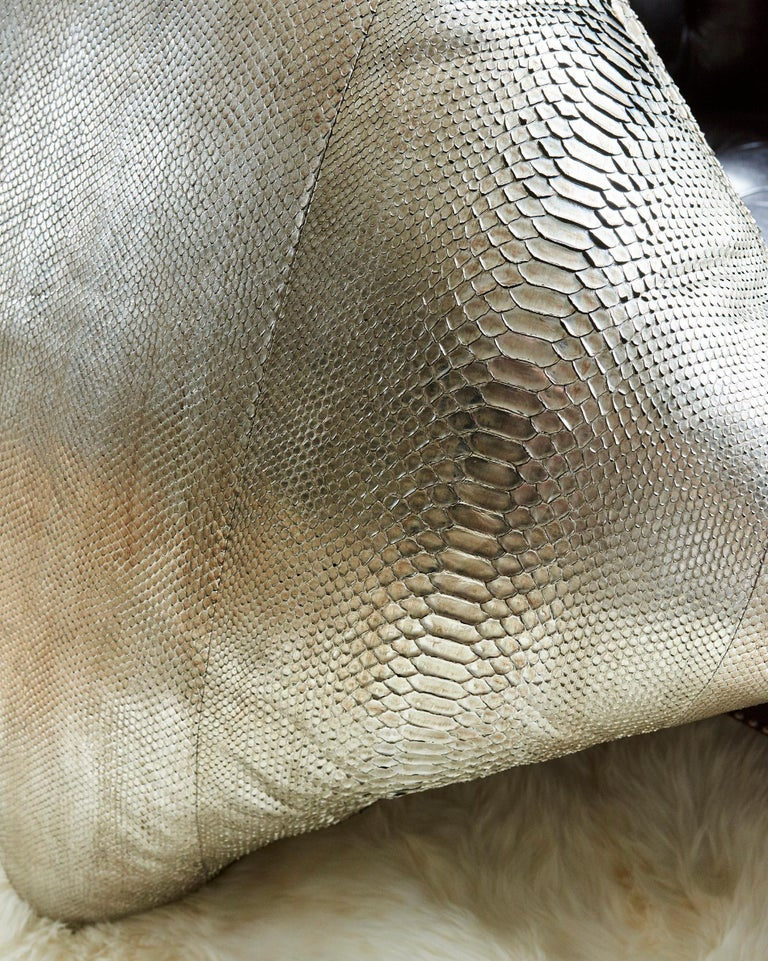 Brown TYLER ELLIS Electric Pewter Metallic Python Oversized Pillow For Sale
