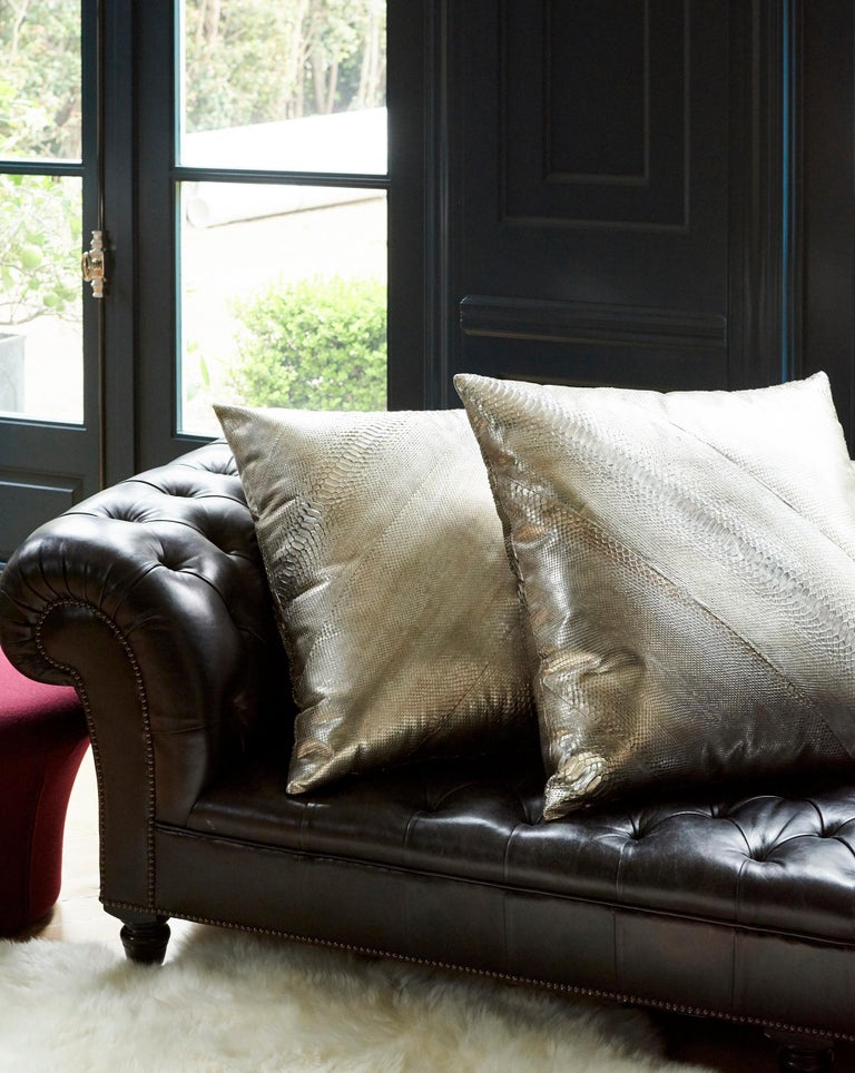 TYLER ELLIS Electric Pewter Metallic Python Oversized Pillow In New Condition For Sale In Los Angeles, CA