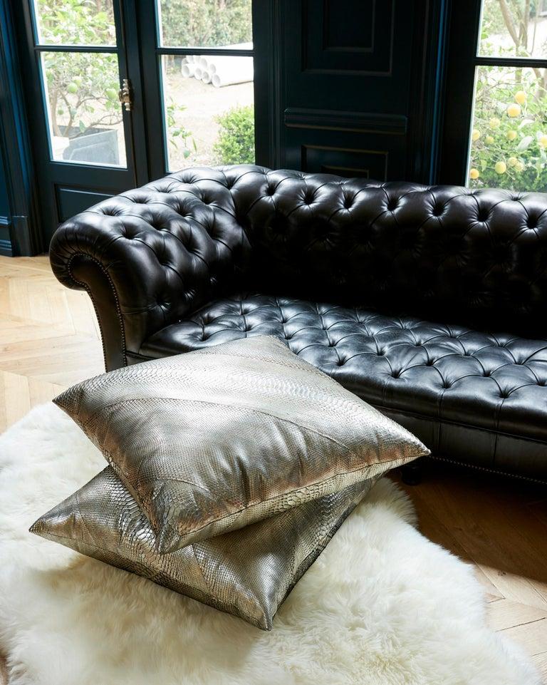 Women's or Men's TYLER ELLIS Electric Pewter Metallic Python Oversized Pillow For Sale