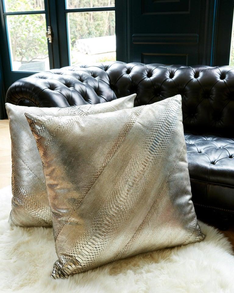 TYLER ELLIS Electric Pewter Metallic Python Oversized Pillow For Sale 1