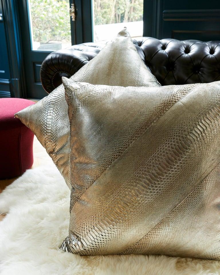 TYLER ELLIS Electric Pewter Metallic Python Oversized Pillow For Sale 2