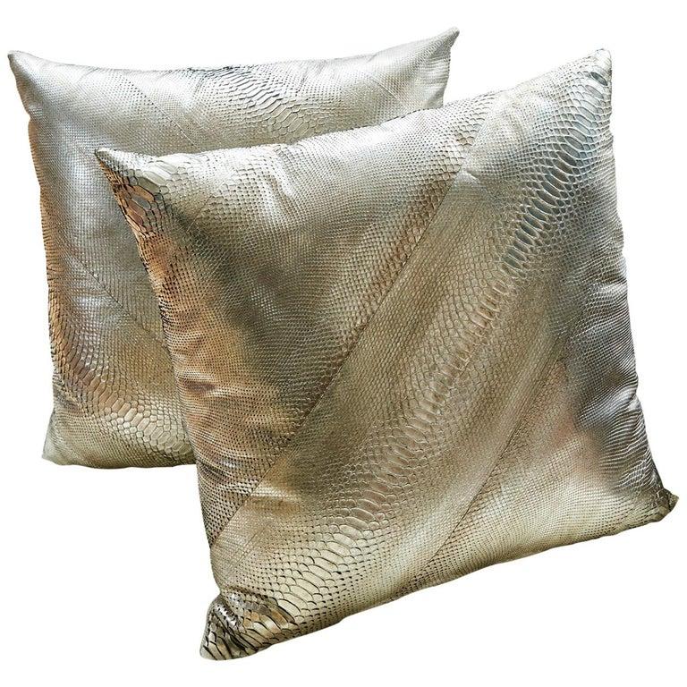 TYLER ELLIS Electric Pewter Metallic Python Oversized Pillow For Sale