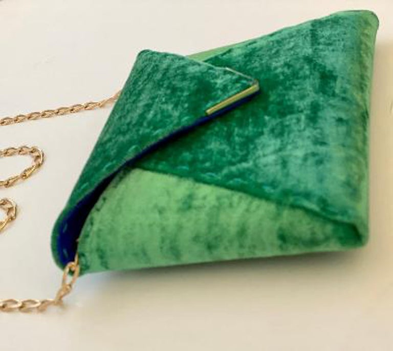 Tyler Ellis Emerald Green Velvet Lee Pouchet Clutch or Crossbody Evening Purse For Sale 1