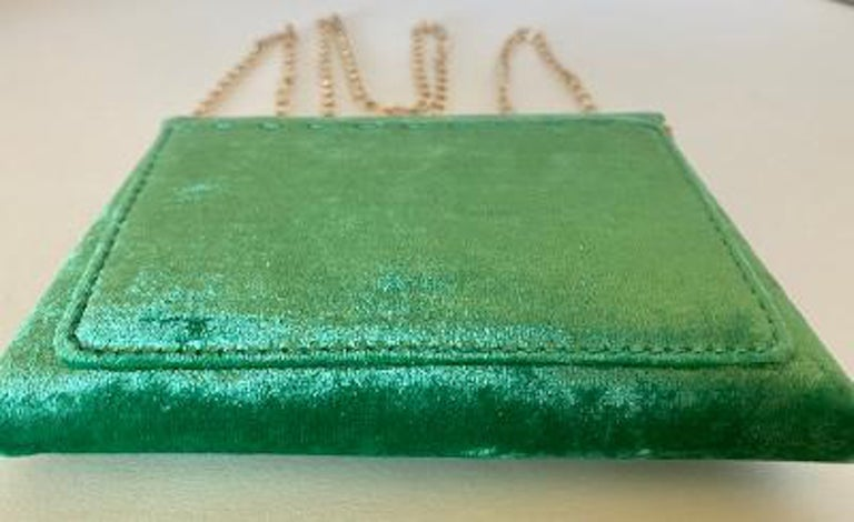 Tyler Ellis Emerald Green Velvet Lee Pouchet Clutch or Crossbody Evening Purse For Sale 2