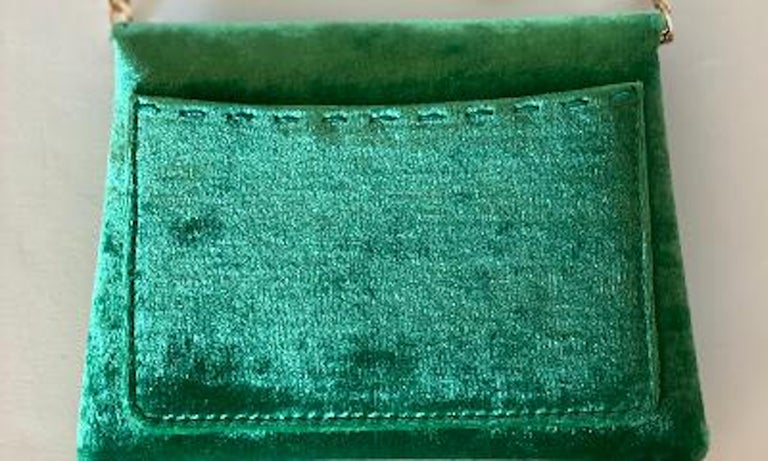 Tyler Ellis Emerald Green Velvet Lee Pouchet Clutch or Crossbody Evening Purse For Sale 3
