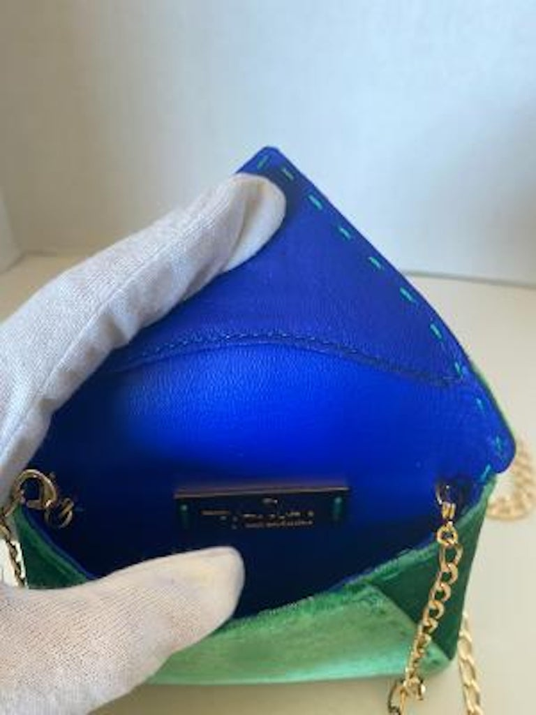 Tyler Ellis Emerald Green Velvet Lee Pouchet Clutch or Crossbody Evening Purse For Sale 5