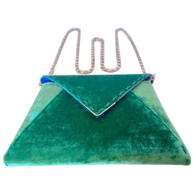 Tyler Ellis Emerald Green Velvet Lee Pouchet Clutch or Crossbody Evening Purse For Sale