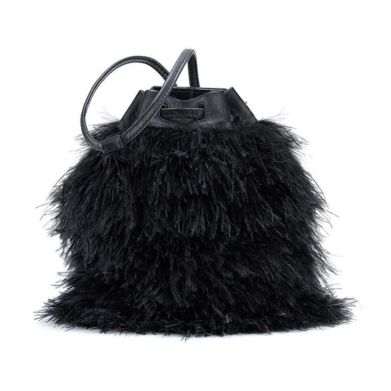 TYLER ELLIS Grace Bucket Small in Black Ostrich Feathers with Black Leather In New Condition For Sale In Los Angeles, CA