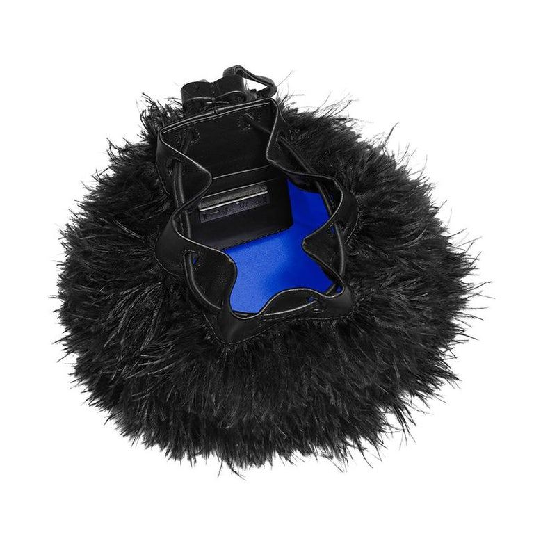 TYLER ELLIS Grace Bucket Small in Black Ostrich Feathers with Black Leather For Sale 1