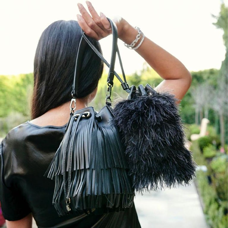 TYLER ELLIS Grace Bucket Small in Black Ostrich Feathers with Black Leather For Sale 2