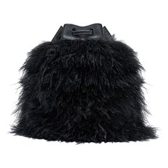 TYLER ELLIS Grace Bucket Small in Black Ostrich Feathers with Black Leather