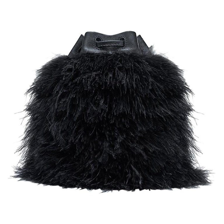 TYLER ELLIS Grace Bucket Small in Black Ostrich Feathers with Black Leather For Sale