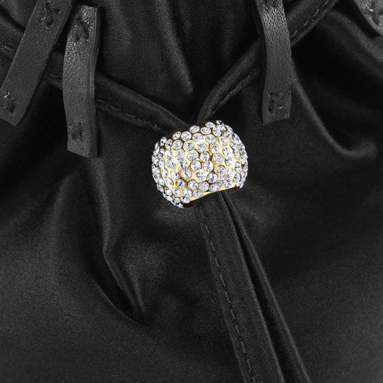 Women's TYLER ELLIS Grace Pouch Mini Black Onyx Satin with Swarovski Crystal and Gold HW