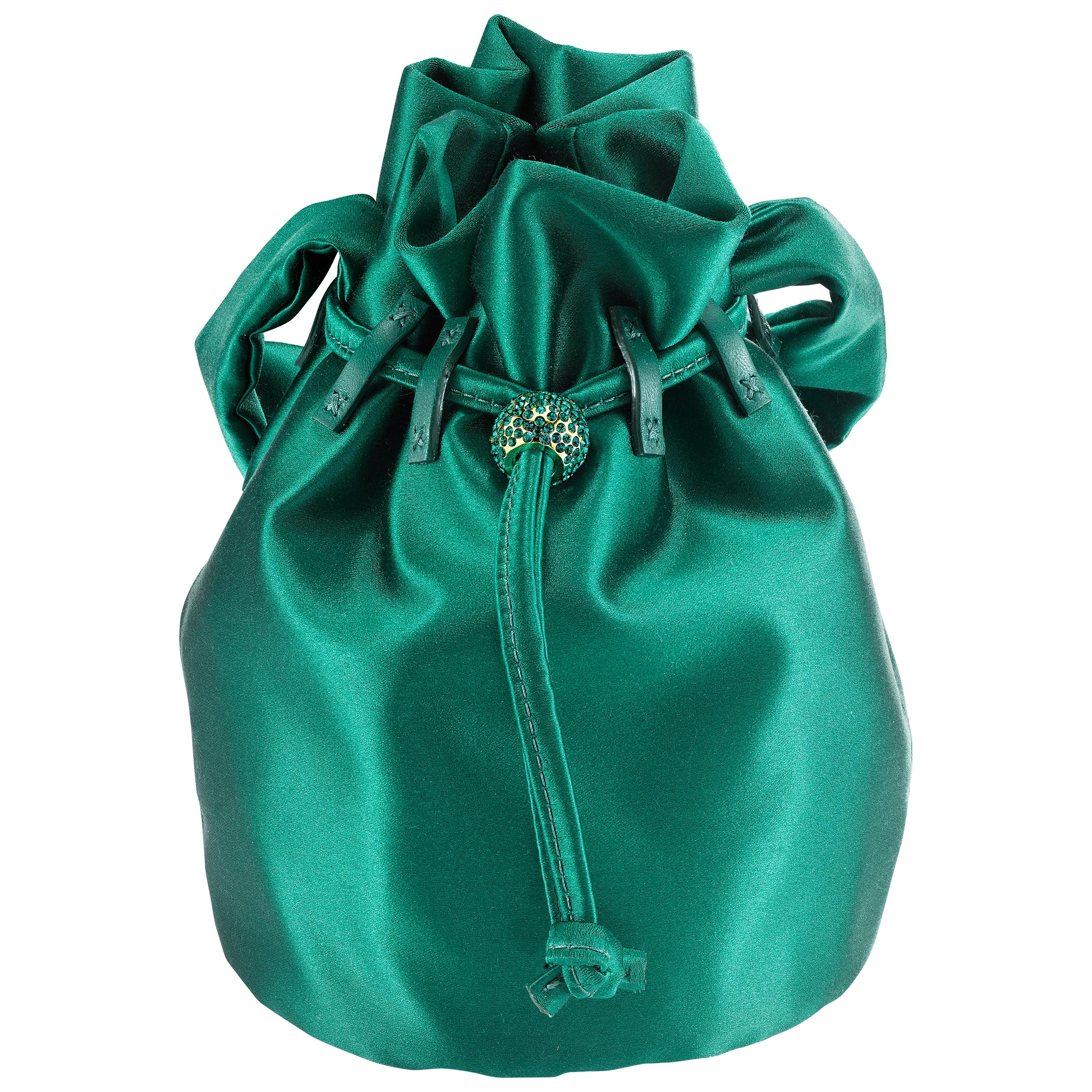 TYLER ELLIS Grace Pouch Mini Emerald Green Satin with Swarovski Crystal &Gold HW