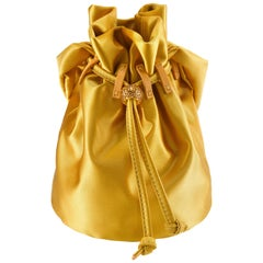 TYLER ELLIS Grace Pouch Mini Golden Yellow Satin with Swarovski Crystal &Gold HW