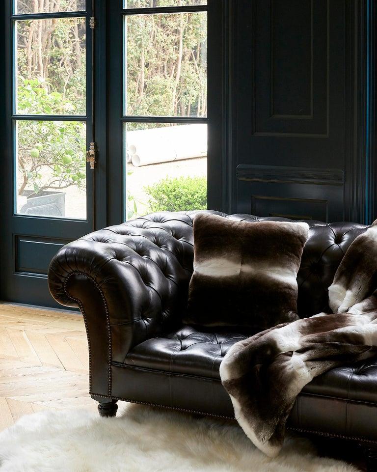 Gray TYLER ELLIS Grey + White Orylag Fur Pillow For Sale