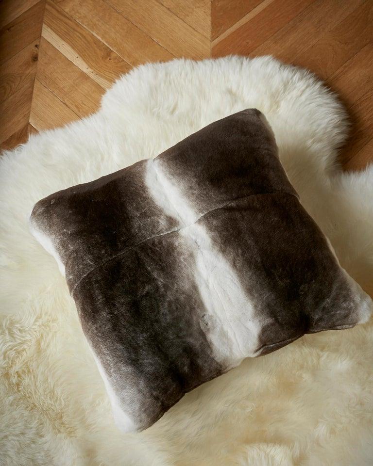 Women's or Men's TYLER ELLIS Grey + White Orylag Fur Pillow For Sale