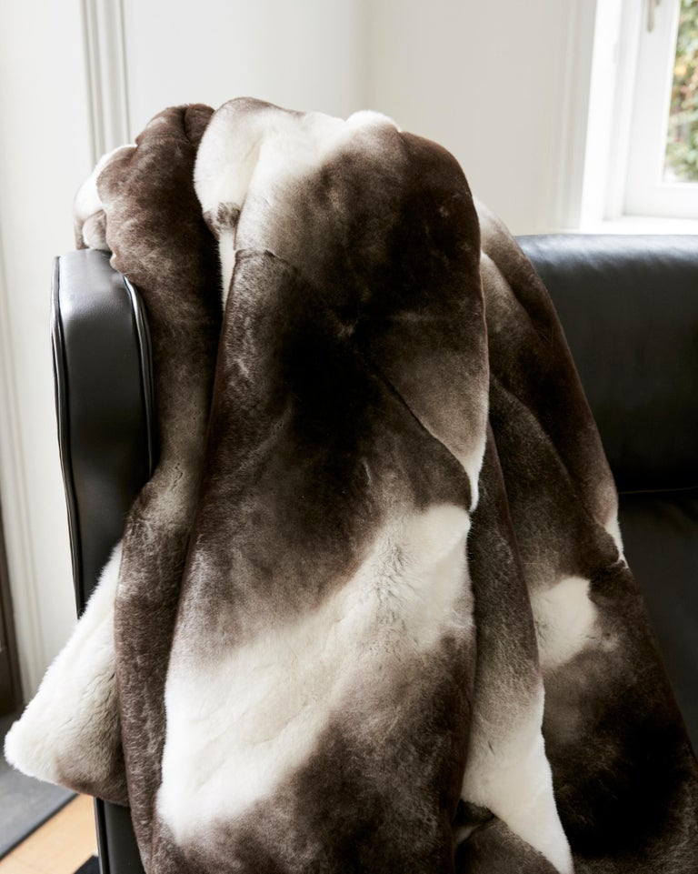 Gray TYLER ELLIS Grey + White Orylag Fur Throw For Sale