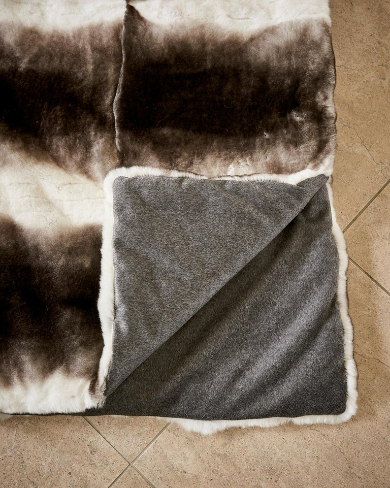 TYLER ELLIS Grey + White Orylag Fur Throw In New Condition For Sale In Los Angeles, CA