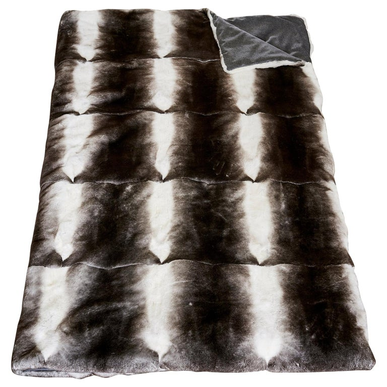 TYLER ELLIS Grey + White Orylag Fur Throw For Sale