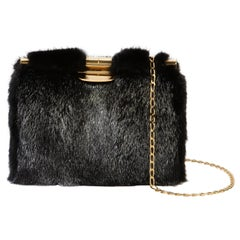 TYLER ELLIS Jamie Clutch Black/Silver Mink Gold Hardware