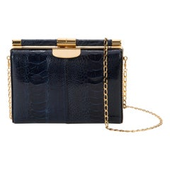 TYLER ELLIS Jamie Clutch Deep Blue Ostrich Leg Gold Hardware