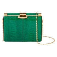 TYLER ELLIS Jamie Clutch Emerald Green Ostrich Leg Gold Hardware