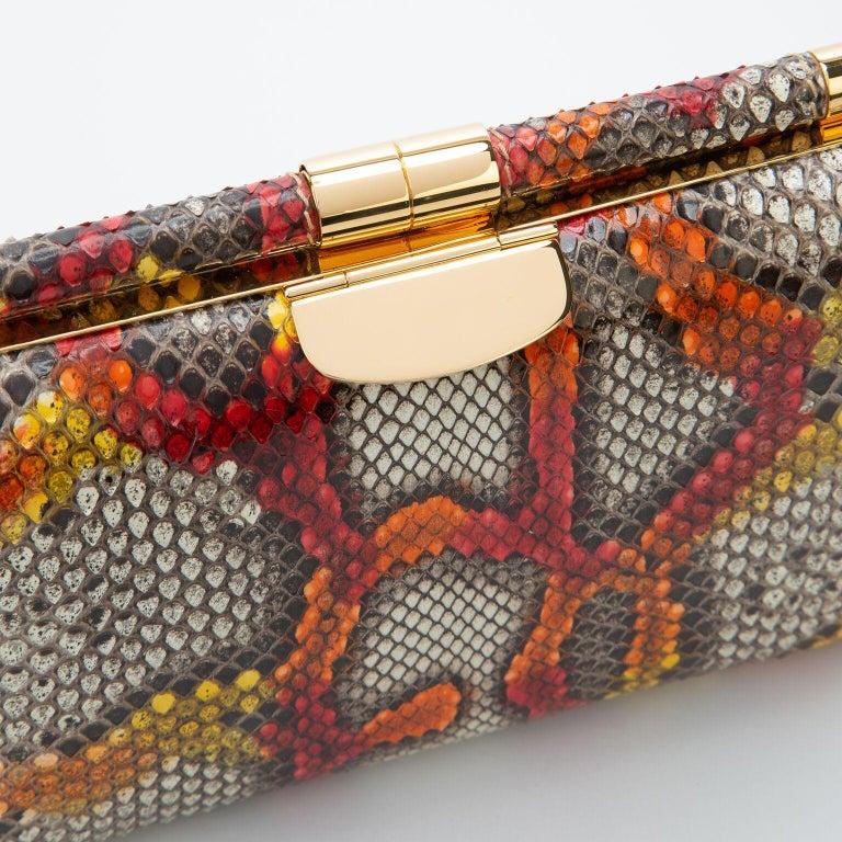 Brown TYLER ELLIS Jamie Clutch Small Kaleidoscope Python Gold Hardware For Sale