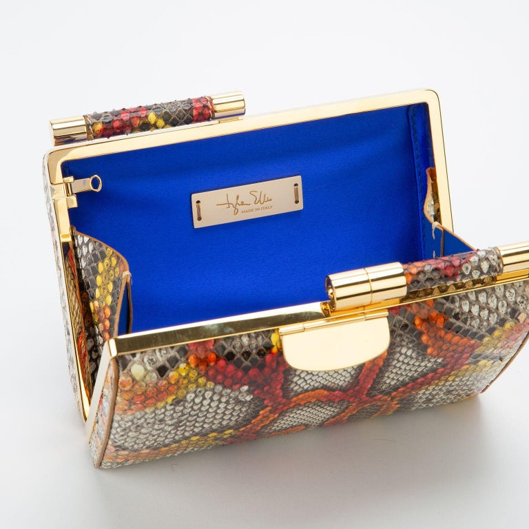 TYLER ELLIS Jamie Clutch Small Kaleidoscope Python Gold Hardware In New Condition For Sale In Los Angeles, CA
