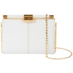 TYLER ELLIS Jamie Clutch Small White Ostrich Leg Gold Hardware
