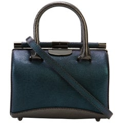 TYLER ELLIS Jamie Doctor Small Blue/Charcoal Lizard Gunmetal Hardware