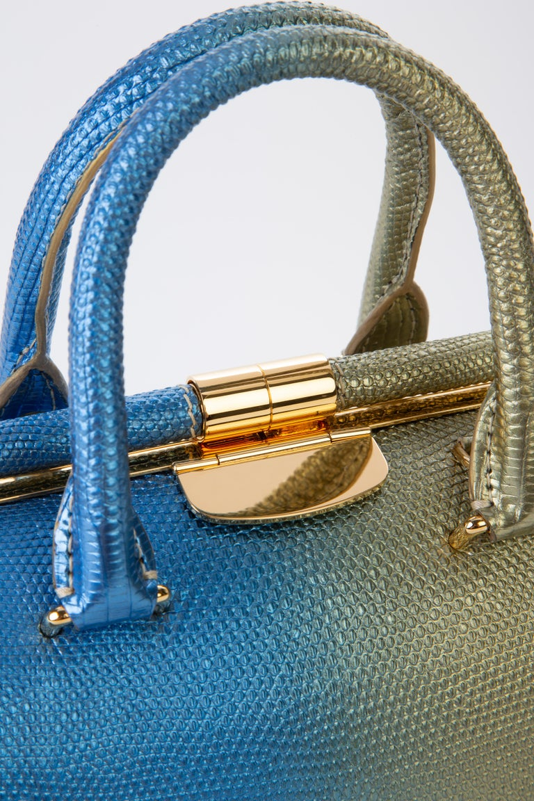 TYLER ELLIS Jamie Doctor Small Gold/Blue Bichrome Lizard Gold Hardware In New Condition For Sale In Los Angeles, CA