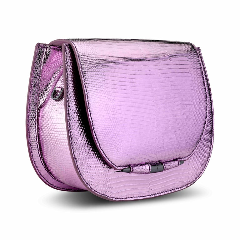 TYLER ELLIS Jane Saddle in Pink and Purple Metallic Lizard In New Condition For Sale In Los Angeles, CA