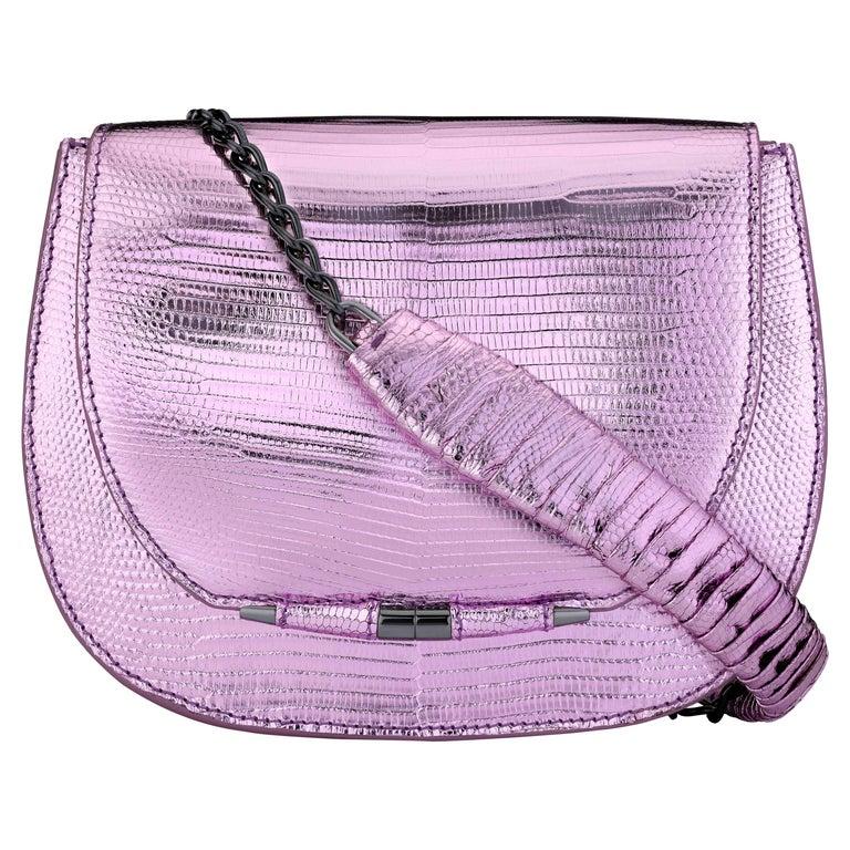 TYLER ELLIS Jane Saddle in Pink and Purple Metallic Lizard For Sale