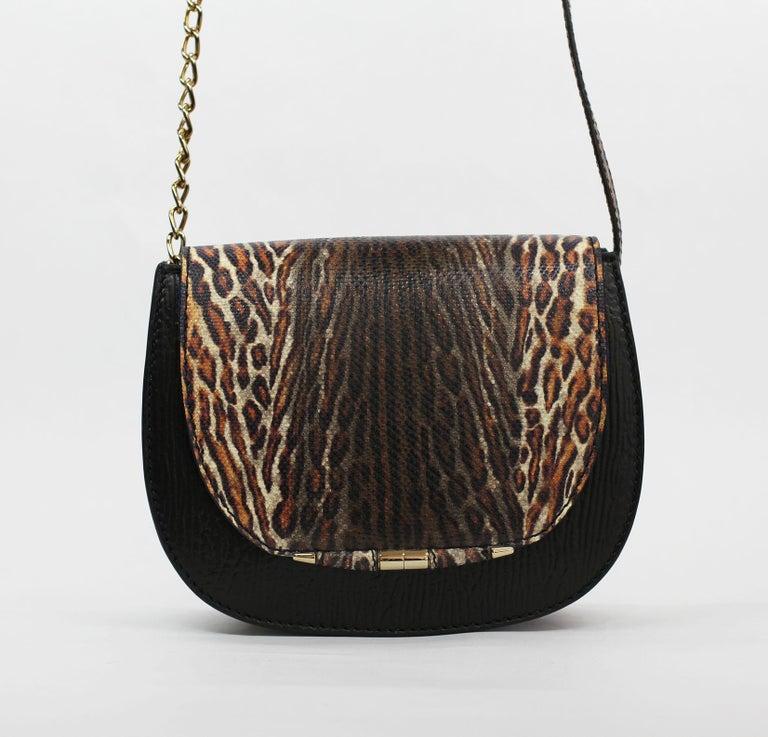 Women's TYLER ELLIS Jane Saddle Small Leopard Karung+Black Plonge Leather Gold Hardware For Sale