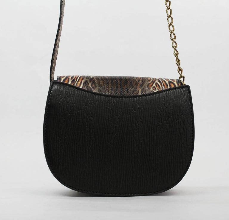 TYLER ELLIS Jane Saddle Small Leopard Karung+Black Plonge Leather Gold Hardware For Sale 1